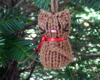 Small Stuffed Brown Kitten Ornament, Handmade Knit, Hanging Decoration, Christmas Tree Trim, Rustic Decor, All Year Decoration