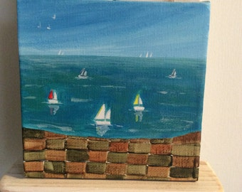 Beyond the harbour wall..original acrylic on canvas. Painting/harbour/boats/sea/nautical.