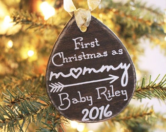 First Christmas As Mommy Ornament - Hand Drawn, Custom New Parent Gift, New Baby Ornament, Mom Ornament, Personalized Ornament, New Mom Gift