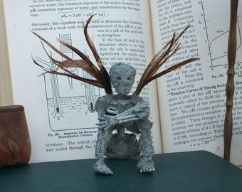 Undead Fairy Oddity Mummified Sprite Teeth Grinner Feather Wings Woodland creature