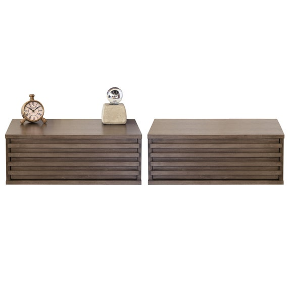 Pair of Floating Wall Mounted Nightstands - Lotus - Driftwood Gray