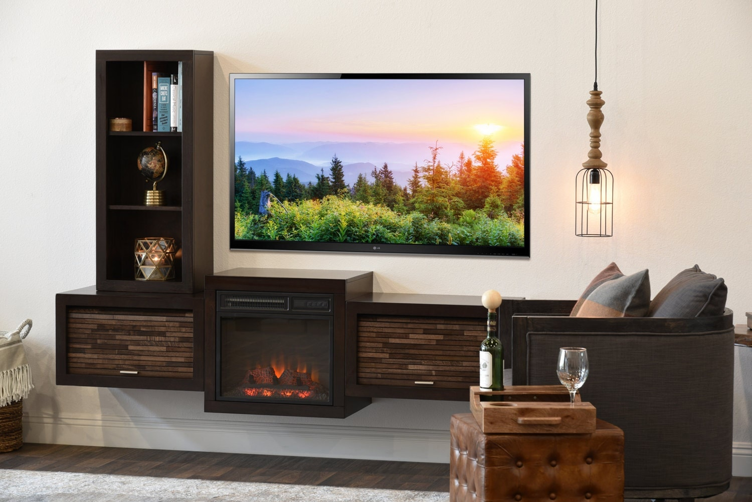 Floating Wall Mount Tv Stand With Fireplace And Bookcase Eco