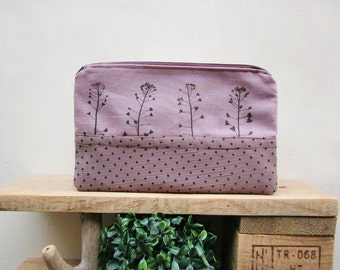 Cosmetics pouch, Hand printed Purse, plants stamp
