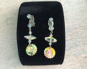 Vintage Crystal Rivoli dangle clip on earrings
