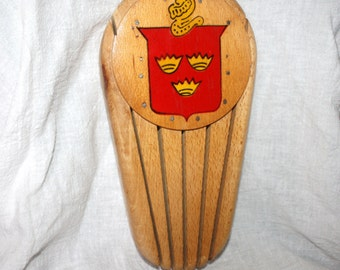 Vintage 1950s Wooden Knife Holder Marked Yugoslavia