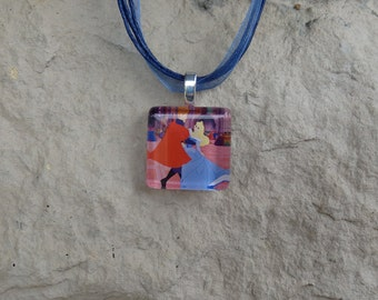 Disney Love Aurora and Phillip from Sleeping Beauty Glass Pendant and Ribbon Necklace