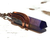 Titanium Quartz necklace - Quartz point - purple crystal with copper