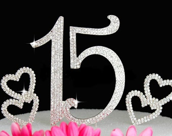 15th Cake Toppers Quinceanera Cake Topper Crystal Cake Top Number 15 and 2 Hearts