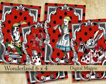 Alice in Wonderland printable digital collage sheet images instant download for Alice party or crafts red black 6 x 4