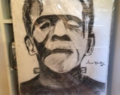 Two Rare FRANKENSTEIN CHARCOAL DRAWING Sara Karloff Signed- By Re-Known Artist