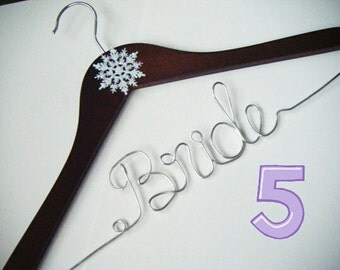 FIVE Hanger Lot -Personalized Wire Hangers - Wedding Party Gift -Bridal Hanger