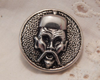 Oriental Figuure Head - Vintage Button of Aluminum or Tin