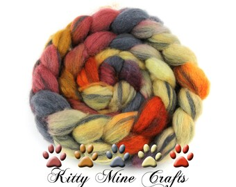 OOAK 75/25 BFL Wool and Carbonized Bamboo Roving - 4oz/ 113g - Felting - Wool Top - Spinning Supplies - Fall Colors