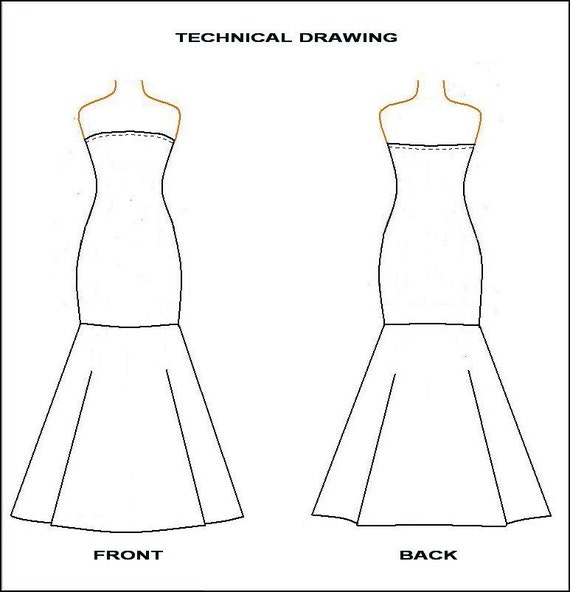 PDF Sewing Pattern- Strapless Mermaid Dress from Knit ...
