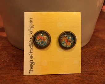 8mm Glass Floral Ornaments Stud Earrings