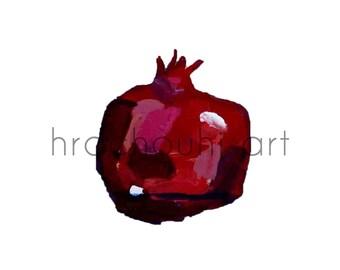Pomegranate Illustration, nur, simple, small print, one pomegranate, pomegranate art, square, acrylic pomegranate, dark red, armenian art