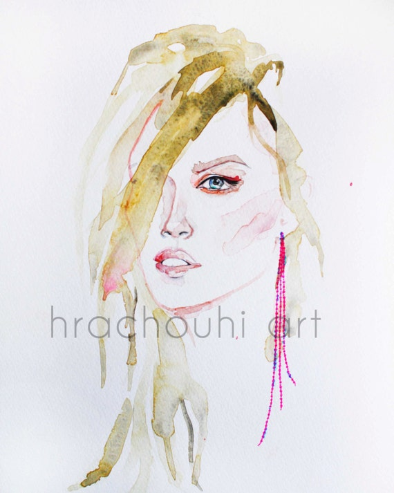 Blonde Girl Print makeup illustration blonde hair art fashion watercolor hot pink earring gift musician fashionista gel pen stylist salon