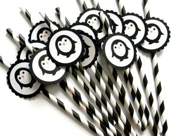 12 Penguin Party Straws, Penguin Theme, First Birthday, Celebrate, Penguin Party, Baby Shower, Birthday, Stripe Straws, Wildlife Theme