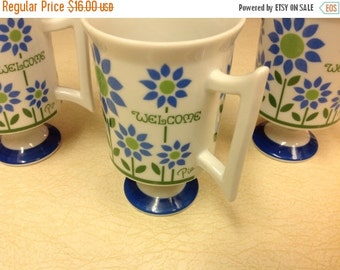 On Sale Three Royal Crown Mugs -  Welcome Pattern by Pia Pedestal Coffee Mugs Vintage Mugs Vintage Cups