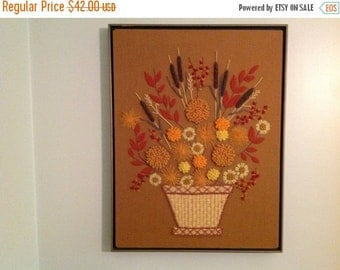 On Sale Vintage Framed Needlepoint Floral Needlepoint Fall Colors