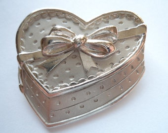 Vintage Signed JJ Silvertone Box of Chocolates Brooch/Pin