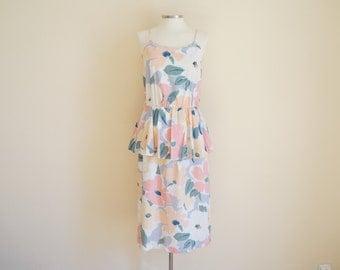 Vintage Peplum Floral Dress