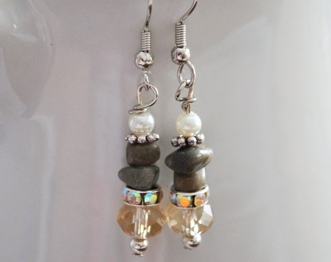 Petoskey stone nugget earrings with crystals, rhinestones, and pearls, Lake Michigan, Up North jewelry