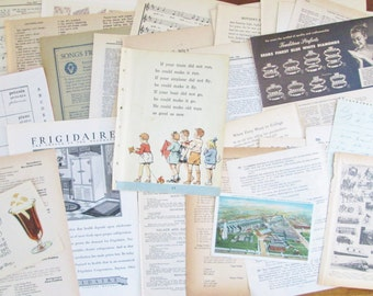 Vintage Ephemera Pack 1920-1950 Book Paper 75 Pages Music Paper Dictionary Advertising for Paper Crafts Mixed Lot of Paper Ephemera