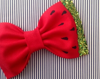 Watermelon bow headband red green glitter bow metallic sparkly accent baby girl