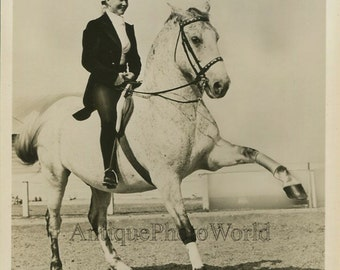Circus performer woman equestrian on horse vintage Ringling photo
