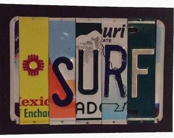 License Plate Sign License Plate letter Art Picture Home Deco SURF License Plate Letter Sign License Plate Art