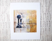 Vintage, Antique Inspired Candlestick Phone: Encaustic Art Print