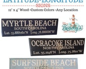 Latitude Longitude Sign, Custom, Directional