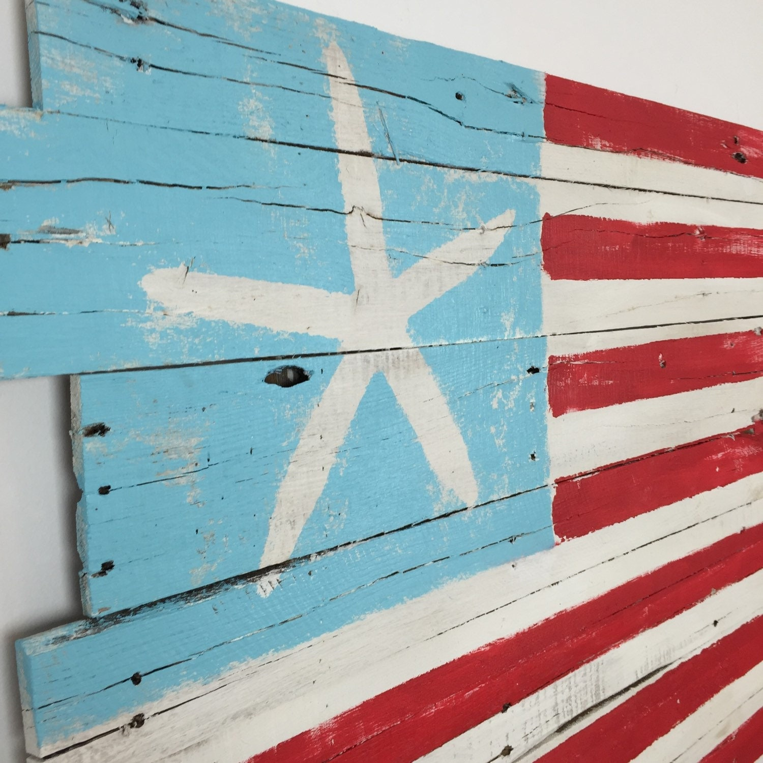 beachy american flag wall hanging reclaimed wood 48 x. Black Bedroom Furniture Sets. Home Design Ideas