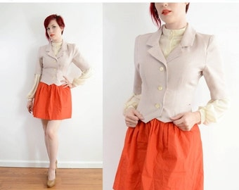 SALE 50s Houndstooth Short Sleeve Jacket - Gray / Peach Fitted Blazer - Mad Men Secretary - Mod Professional // Xs Small