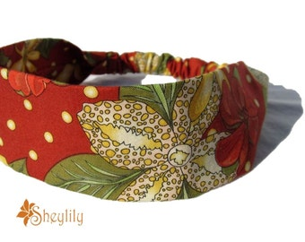 Red floral Headband for Ladies, Women, Made to Order