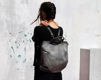Leather backpack bag, Gray leather backpack, Gray leather bag, Women leather handbag, Handmade leather bag, Women leather backpack, for her