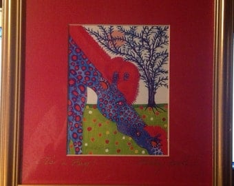 """Betsey Fowler Framed and Signed Lithograph """"It's a boy"""""""