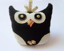 Owl Cushion Stuffed Toy Animal, Owl Pillow, Cute Black Owl, Kids Pillow, Nursery Room decor, Sweet gift for teens, Decorative little pillow