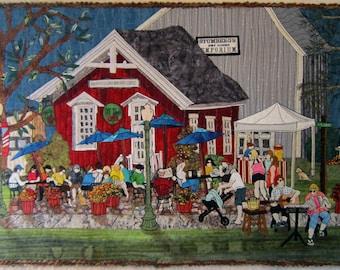 The Coffee Shop - Art Quilt - Wallhanging - Fiber Art - Art - Coffeehouse - Coffee - Quilt -Textile - Quilt