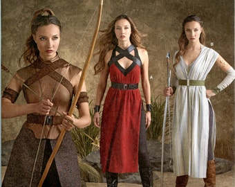 Cosplay Costumes in the style of Star Wars Force Awakens Rey, Hunger Games Katniss, Game Thrones SEWING Pattern, Simplicity  8074 sizes 6-22