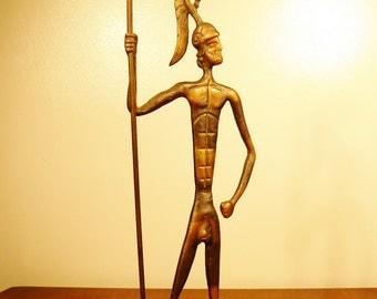 """Vintage 20"""" Iron Warrior Sculpture"""
