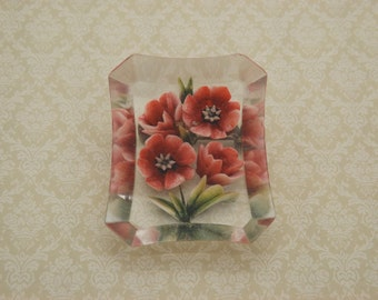 A superb 1940's / 50's period rectangular vintage jewelry brooch made in deep carved clear lucite with enameled red roses & green leaves