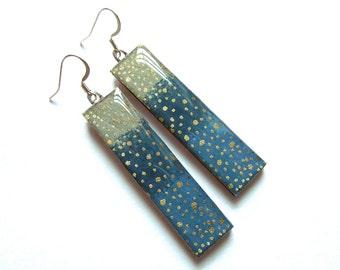 Japanese Paper Earrings, Dangle Earrings, Chiyogami Earrings, Japanese Paper Jewelry, Gold Earrings, Lightweight Earrings, Hypoallergenic