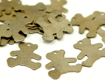 50 Pcs. Antique Brass 14x15 mm Bear Findings