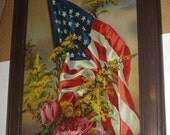 American Flag Pink Cabbage Roses Patriotic 1896 Antique Chromolithograph Yardlong Print Picture Walnut Wood Frame Wavy Glass Wm Ostrander