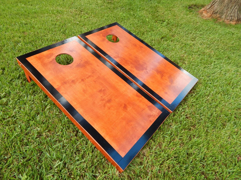 Regulation Black Border Gunstock Stained Cornhole Boards W O