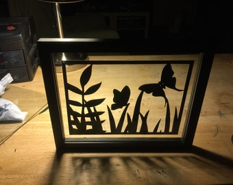 Butterfly Float Frame Hand cut paper art black silhouette paper cutting
