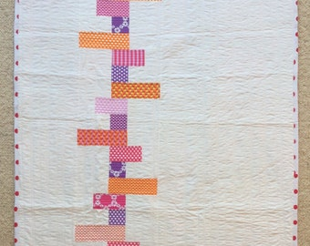 White and Pink baby quilt, Quilt Art, wall hanging, home decor, fabric art