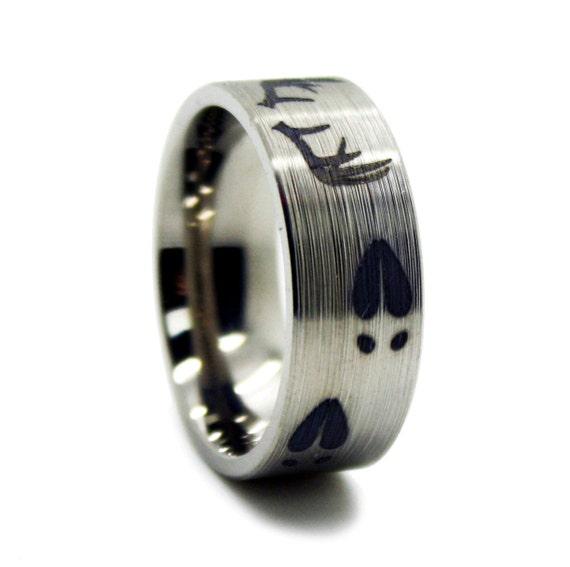 Deer Antler Wedding Ring Titanium Mens Wedding Band Antler